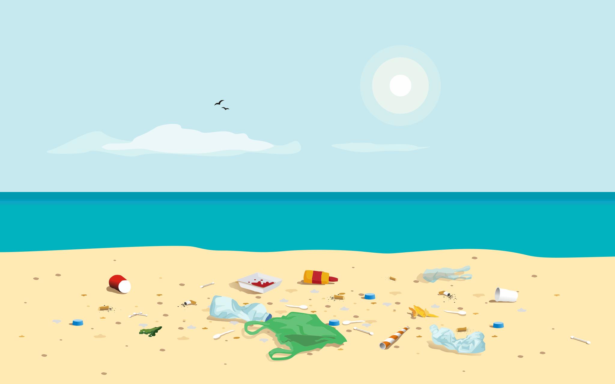plastové tašky na pláži